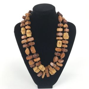 Vintage Wooden Beaded Chunky Statement Necklace
